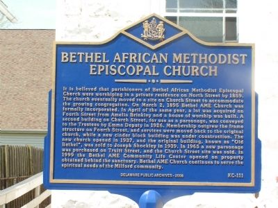Bethel African Methodist Episcopal Church Marker image. Click for full size.