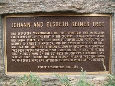 Johann and Elsbeth Reiner Tree Marker Photo, Click for full size