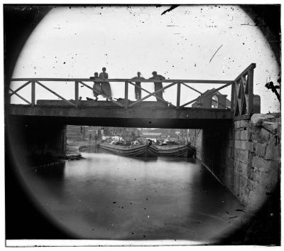 Bridge over Kanawha Canal, circa 1865 image. Click for full size.