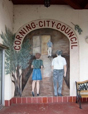 Trompe L'oeil entrance to the Corning City Hall (Solano Street side) image. Click for full size.