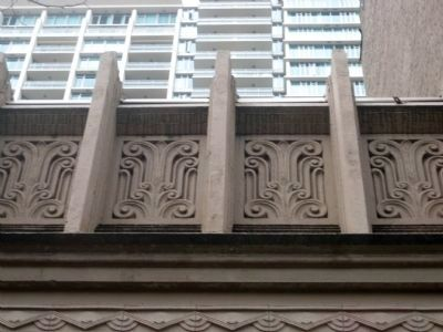 "Deutschesland Caf� building detail - the ""exuberant crenelated cornice"" image. Click for full size."