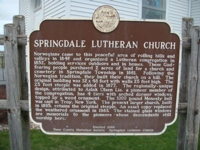 Springdale Lutheran Church Marker image. Click for full size.
