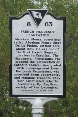 French Huguenot Plantation Marker Photo, Click for full size