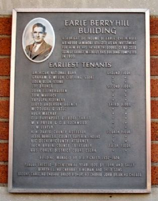 Earle Berryhill Building Marker image. Click for full size.