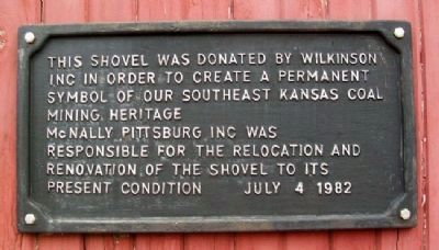 Wilkinson Coal Company Steam Shovel Marker image. Click for full size.