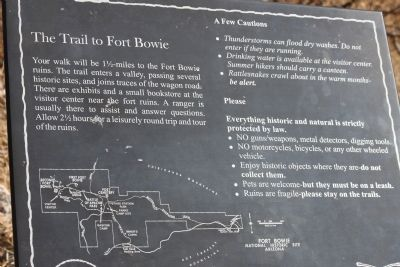 The Trail to Fort Bowie Marker image. Click for full size.