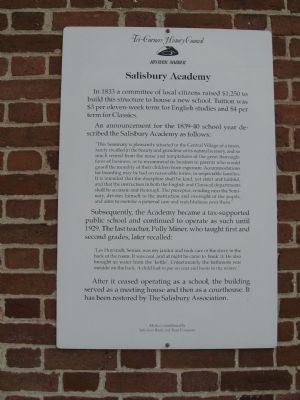 Salisbury Academy Marker image. Click for full size.