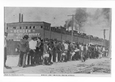 Workers' bread line during the Summer 1909 strike at the Pressed Steel Car Co. in McKees Rocks, PA. image. Click for full size.
