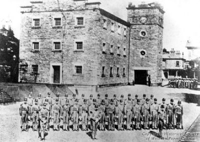The Duquesne Greys in front of the Allegheny Arsenal image. Click for full size.