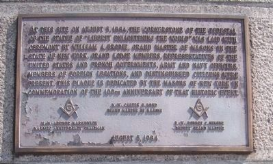 Cornerstone of the Statue of Liberty Pedestal Marker image. Click for full size.