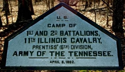 Camp of 1st and 2nd Battalions, 11th Illinois Cavalry Marker image. Click for full size.