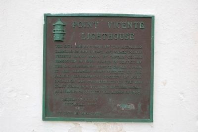 Point Vicente Lighthouse Marker image. Click for full size.