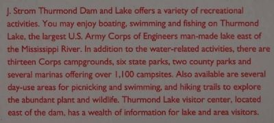 Thurmond Dam and Lake Marker image. Click for full size.