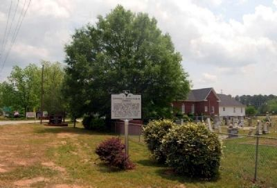 Townville Presbyterian Church Marker -<br>Church and Cemetery in Background image. Click for full size.