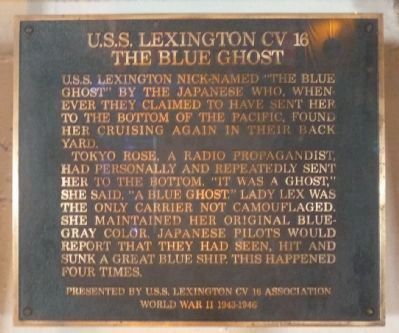 "The Legend of the ""Blue Ghost"" - plaque displayed on the carrier's hanger deck. image. Click for full size."