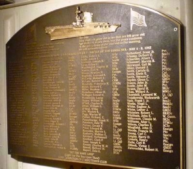 "Memorial to the crew of ""CV-2"", the first carrier <i>Lexington</i> image. Click for full size."