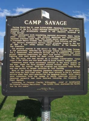 Camp Savage Marker image. Click for full size.