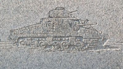 Tank on World War II Memorial image. Click for full size.