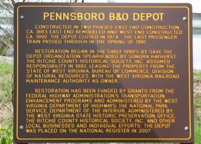 Pennsboro B&O Depot Marker Photo, Click for full size