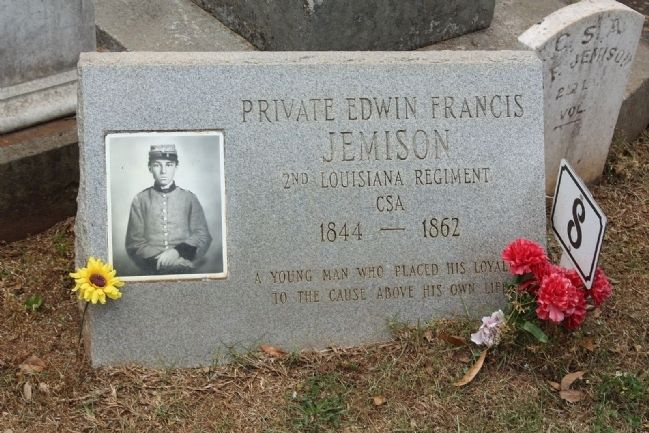 Memory Hill Cemetery , Edwin Francis Jemison, b. December 1, 1844 d. July 1, 1862 image. Click for full size.