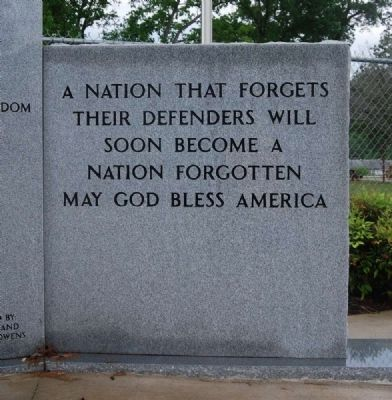 Enoree Community Veterans Memorial -<br>Right Inscription image. Click for full size.