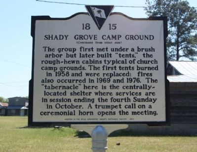 Shady Grove Camp Ground Marker, reverse side image. Click for full size.
