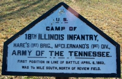 Camp of 18th Illinois Infantry Marker image. Click for full size.
