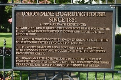 Union Mine Boarding House Marker image. Click for full size.