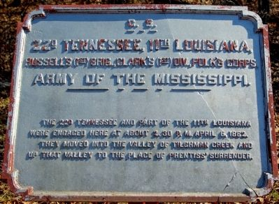 22nd Tennessee, 11th Louisiana Marker image. Click for full size.