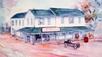 Drawing of Ebenezer Capps' Store on Marker image. Click for full size.