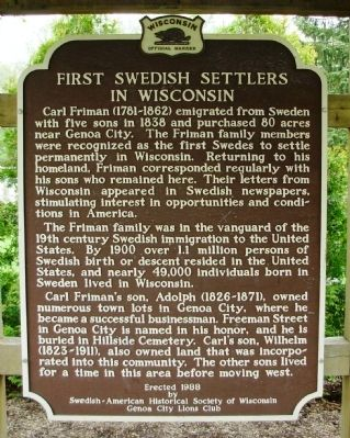 First Swedish Settlers in Wisconsin Marker image. Click for full size.