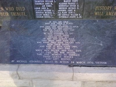 Poem located on the memorial image. Click for full size.
