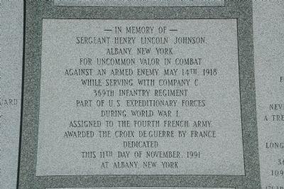 The Battle of Henry Johnson Marker - Center Panel Photo, Click for full size