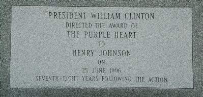 The Battle of Henry Johnson Marker - Bottom Panel Photo, Click for full size