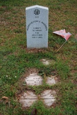 Pvt. Washington Lafayette Haddon<br>Due West A.R.P. Church Cemetery Photo, Click for full size
