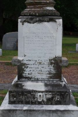 Rev. J[onathan] Galloway Tombstone<br>Due West A.R.P. Church Cemetery<br>Northeast Inscription Photo, Click for full size