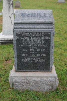 Jane Taylor McDill Tombstone<br>Due West A.R.P. Church Cemetery Photo, Click for full size