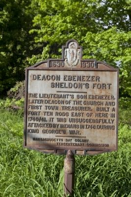 Deacon Ebenezer Sheldon's Fort Marker Photo, Click for full size