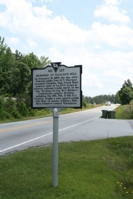 Skirmish at Killian's Mill Marker, looking south along Farrow Road (S.C. Hwy. 555) image. Click for full size.