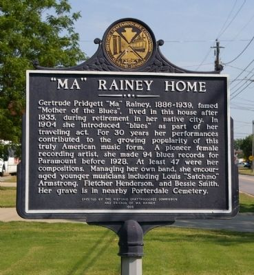 """Ma"" Rainey Home Marker image. Click for full size."