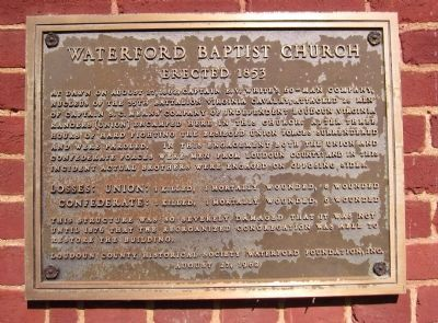 Waterford Baptist Church Marker Photo, Click for full size