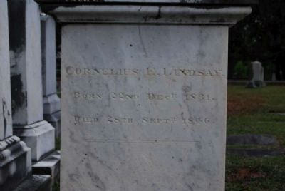 Cornelius E. & Henry L. Lindsay Tombstone<br>Due West ARP Church Cemetery<br>Northeast Inscription Photo, Click for full size