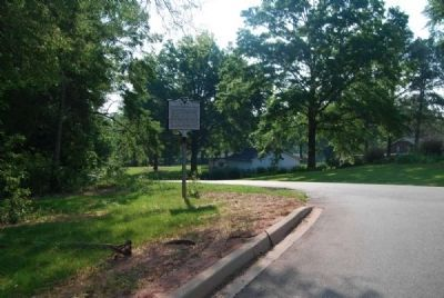 Old Rutherford Road Marker -<br>From School Parking Lot image. Click for full size.