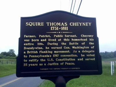 Squire Thomas Cheyney 1731 – 1811 Marker image. Click for full size.