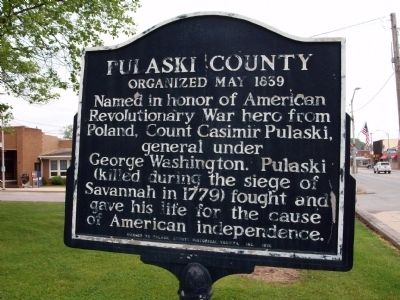 Obverse View - - Pulaski County (Indiana) Marker image. Click for full size.
