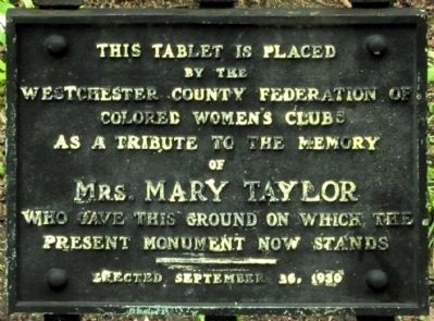 Tablet honoring Mrs. Mary Taylor who donated the land for the André Captors Monument image. Click for full size.