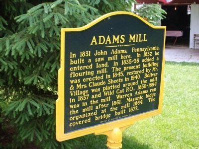 Adams Mill Marker - Front image. Click for full size.