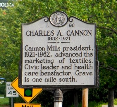 Charles A. Cannon Marker image. Click for full size.
