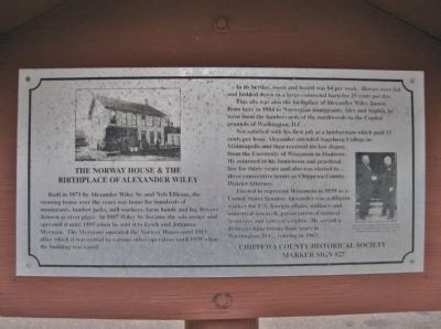 The Norway House & the Birthplace of Alexander Wiley Marker image. Click for full size.
