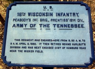 16th Wisconsin Infantry Marker image. Click for full size.